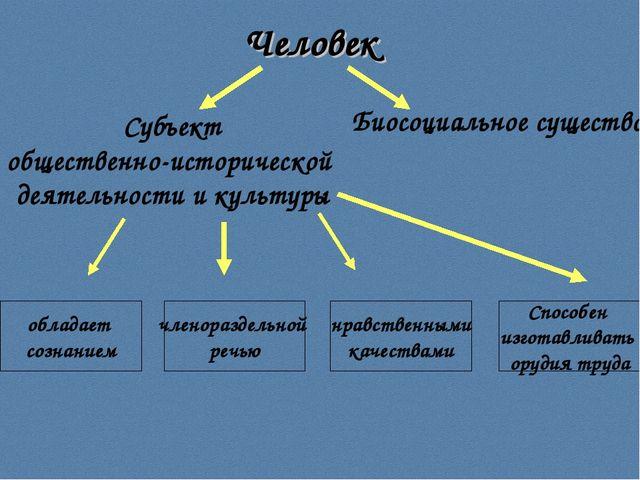 Человек Субъект общественно-исторической деятельности и культуры Биосоциально...