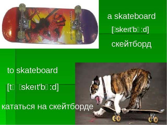 a skateboard [̗ skeıt′bↄ:d] to skateboard [tә ̗ skeıt′bↄ:d] кататься на скейт...