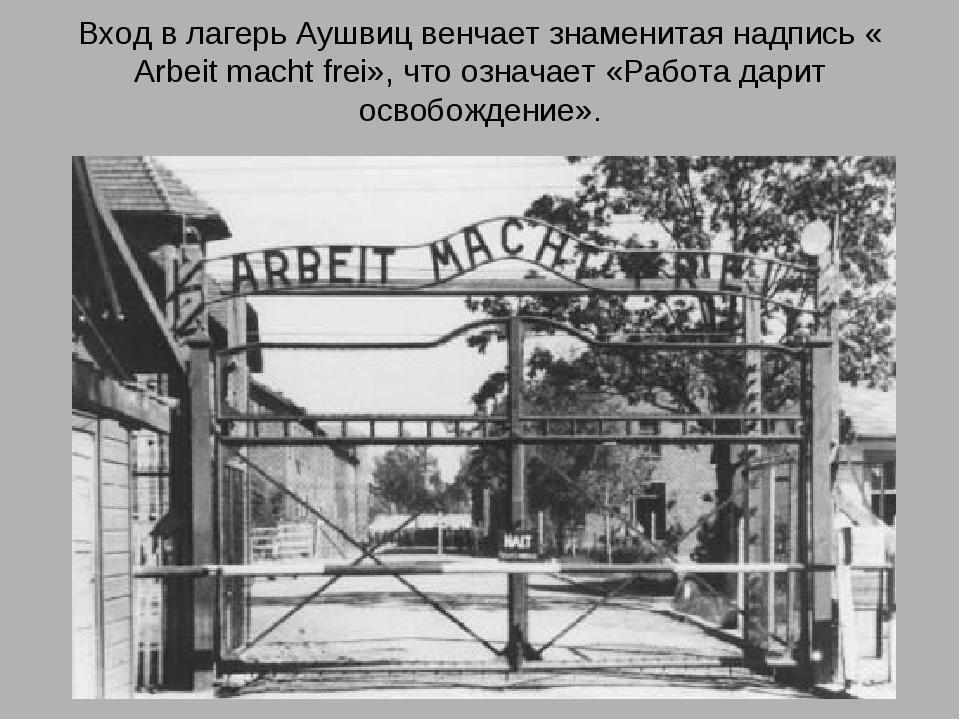 Вход в лагерь Аушвиц венчает знаменитая надпись « Arbeit macht frei», что озн...