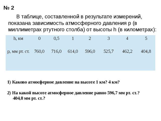 № 2 В таблице, составленной в результате измерений, показана зависимость атм...