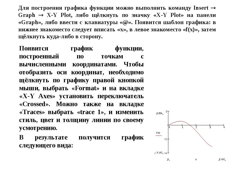 Для построения графика функции можно выполнить команду Insert  Graph  X-Y P...