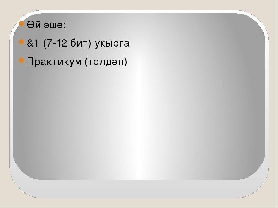Өй эше: &1 (7-12 бит) укырга Практикум (телдән)
