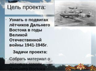 Цель проекта: Узнать о подвигах лётчиков Дальнего Востока в годы Великой Отеч