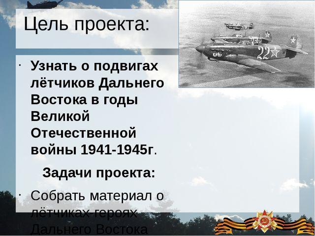 Цель проекта: Узнать о подвигах лётчиков Дальнего Востока в годы Великой Отеч...