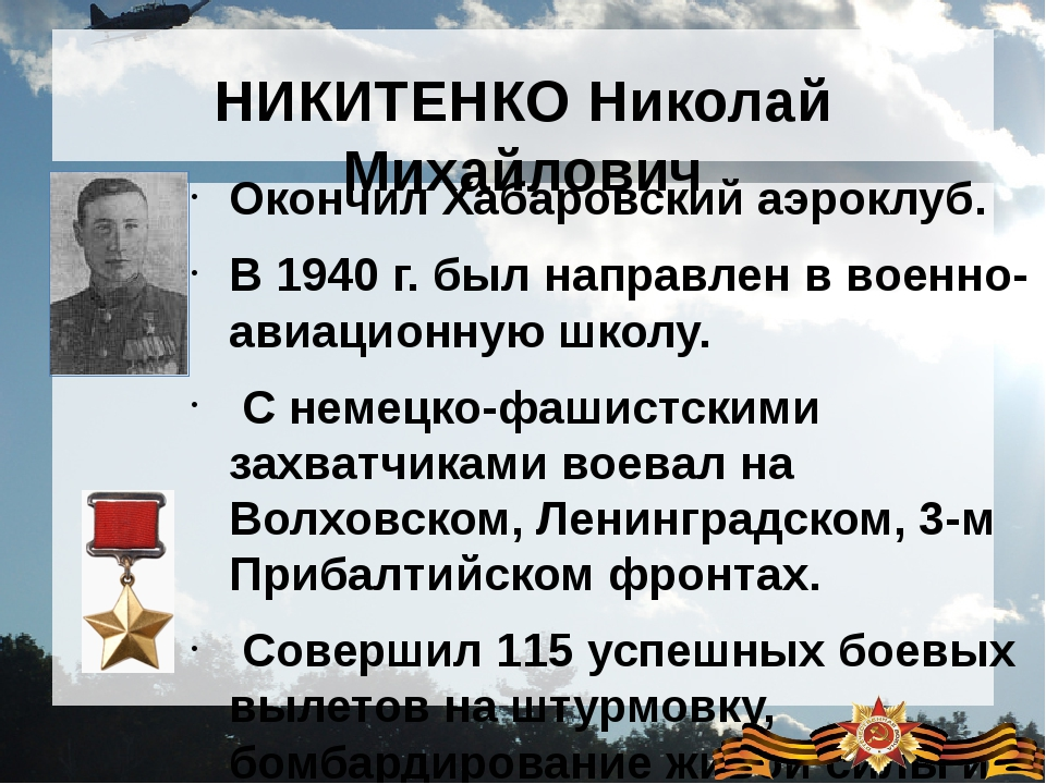 НИКИТЕНКО Николай Михайлович Окончил Хабаровский аэроклуб. В 1940 г. был напр...