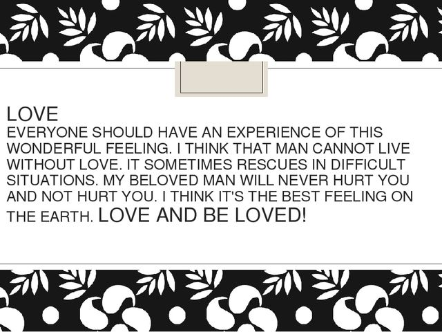 LOVE EVERYONE SHOULD HAVE AN EXPERIENCE OF THIS WONDERFUL FEELING. I THINK TH...