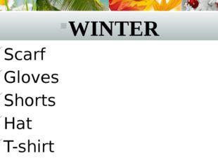 WINTER Scarf Gloves Shorts Hat T-shirt
