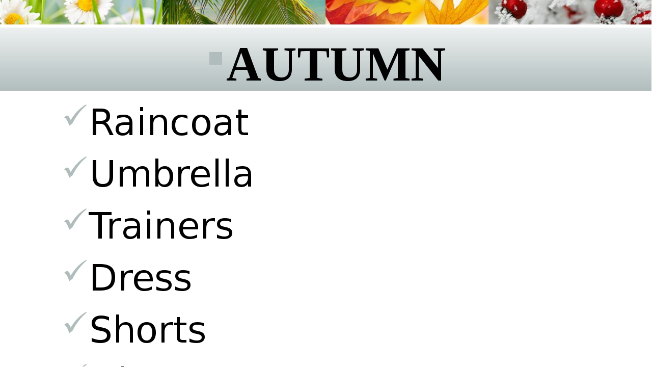 AUTUMN Raincoat Umbrella Trainers Dress Shorts Gloves