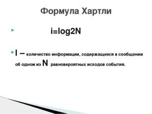 i=log2N I – количество информации, содержащееся в сообщении об одном из N ра