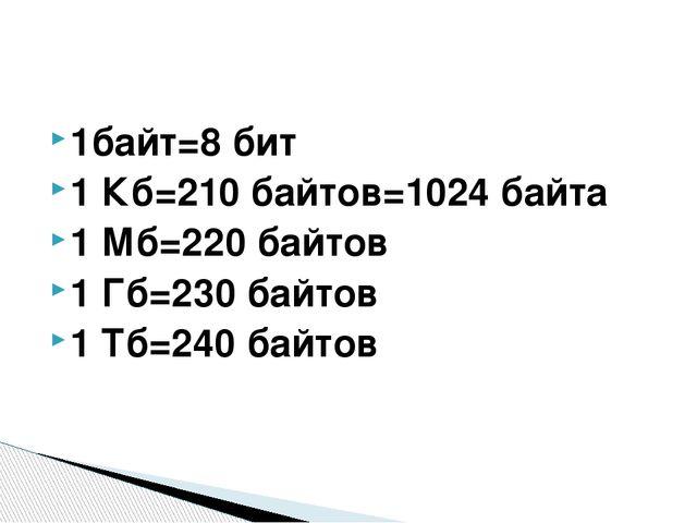 1байт=8 бит 1 Кб=210 байтов=1024 байта 1 Мб=220 байтов 1 Гб=230 байтов 1 Тб=2...