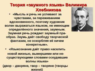 Теория «заумного языка» Велимира Хлебникова «Мысль и речь не успевают за чувс