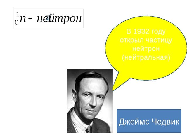 В 1932 году открыл частицу нейтрон (нейтральная) Джеймс Чедвик