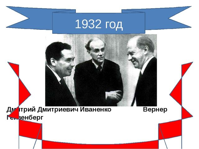 1932 год Дмитрий Дмитриевич Иваненко Вернер Гейзенберг Протонно-нейтронная мо...