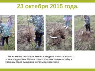 23 октября 2015 года. Через месяц раскопали землю и увидели, что произошло с