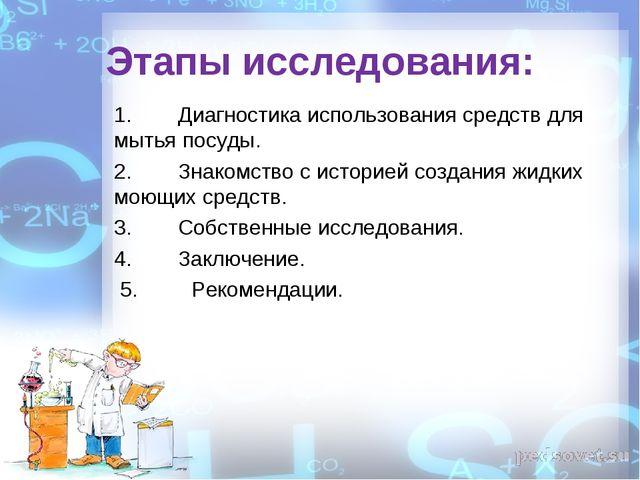 Этапы исследования: 1.Диагностика использования средств для мытья посуды. 2....