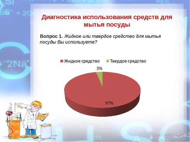 Диагностика использования средств для мытья посуды Вопрос 1. Жидкое или тверд...