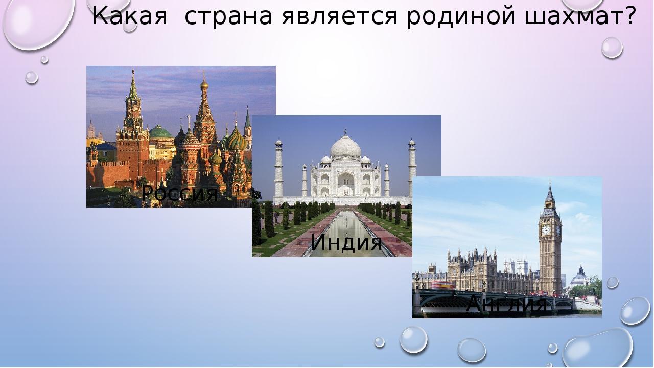 Какая страна является родиной шахмат? Россия Индия Англия
