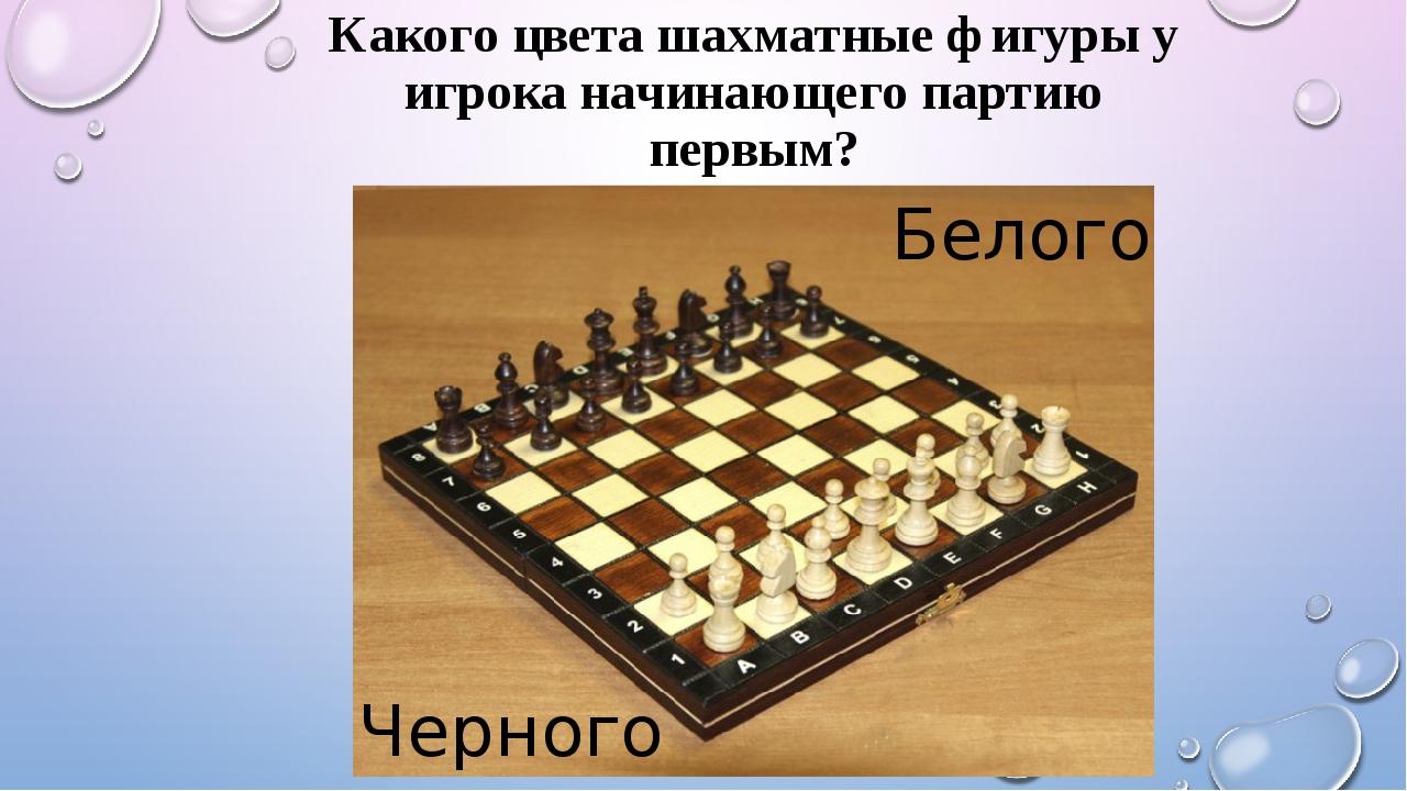 Какого цвета шахматные фигуры у игрока начинающего партию первым? Белого Черн...