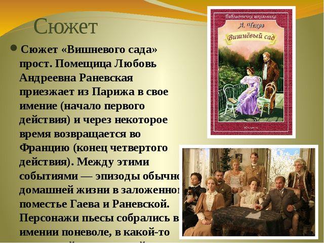 Сюжет Сюжет «Вишневого сада» прост. Помещица Любовь Андреевна Раневская прие...