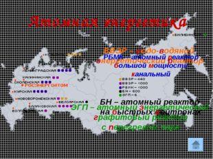 * Атомная энергетика ВВЭР – водо-водяной энергетический реактор РБМК – атомны