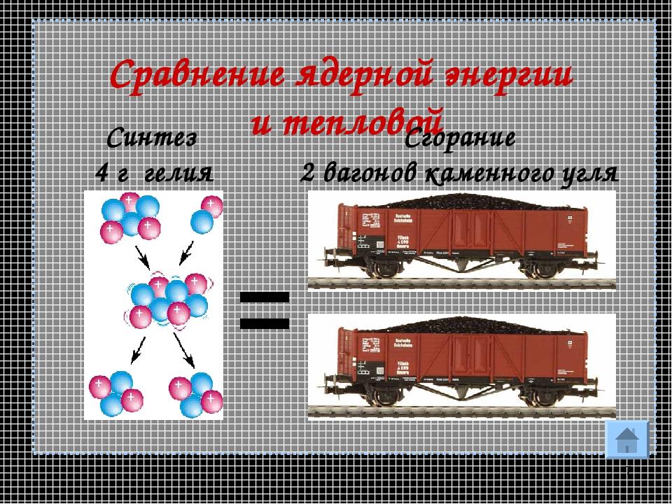 * Сравнение ядерной энергии и тепловой = Синтез 4 г гелия Сгорание 2 вагонов...