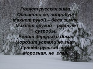 Гуляет русская зима. Останови ее, попробуй! Махнет рукой – бела земля, Махнет