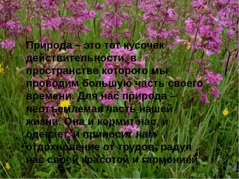 Природа – это тот кусочек действительности, в пространстве которого мы провод...