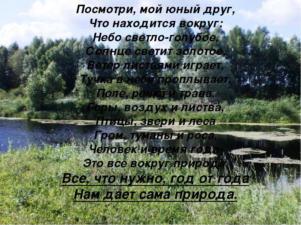 Посмотри, мой юный друг, Что находится вокруг: Небо светло-голубое, Солнце св...