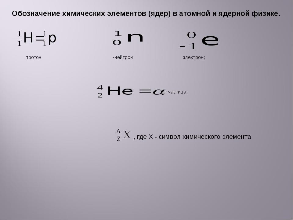 Обозначение химических элементов (ядер) в атомной и ядерной физике. протон -н...