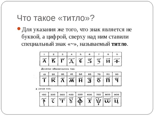 Что такое «титло»? Для указания же того, что знак является не буквой, а цифро...