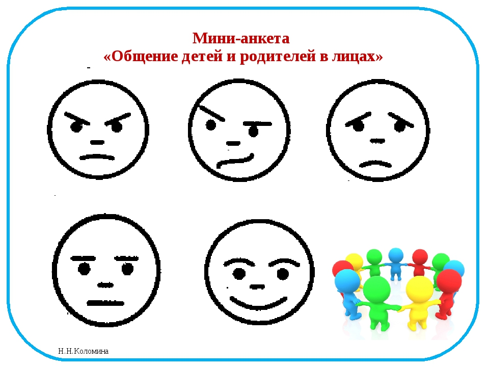 Мини-анкета «Общение детей и родителей в лицах» Н.Н.Коломина