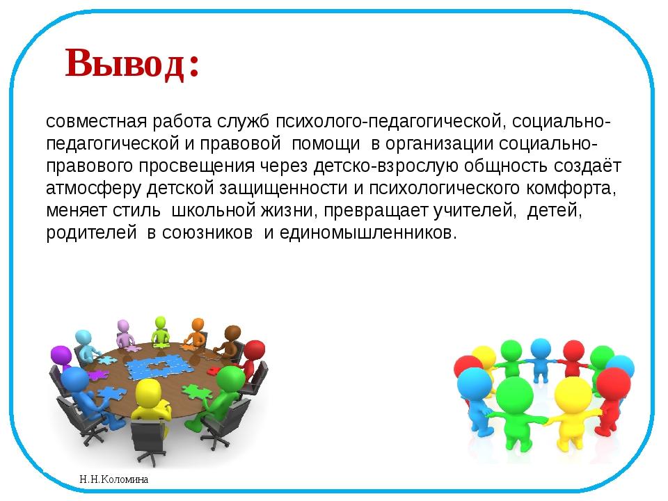 Вывод: совместная работа служб психолого-педагогической, социально-педагогиче...