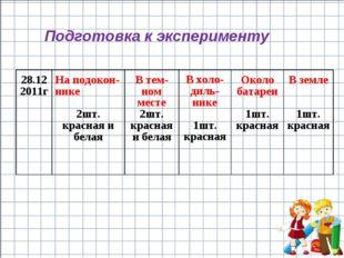 Подготовка к эксперименту 28.12 2011гНа подокон-нике 2шт. красная и белаяВ