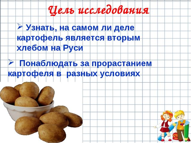 Цель исследования Узнать, на самом ли деле картофель является вторым хлебом н...