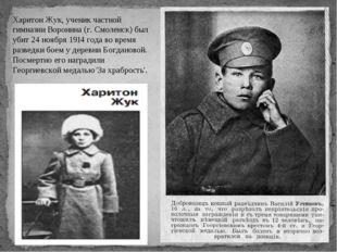 Харитон Жук, ученик частной гимназии Воронина (г. Смоленск) был убит 24 ноябр