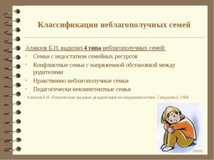 Классификации неблагополучных семей Алмазов Б.Н. выделил 4 типа неблагополучн