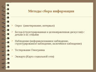 Методы сбора информации Опрос (анкетирование, интервью) Беседа (структурирова