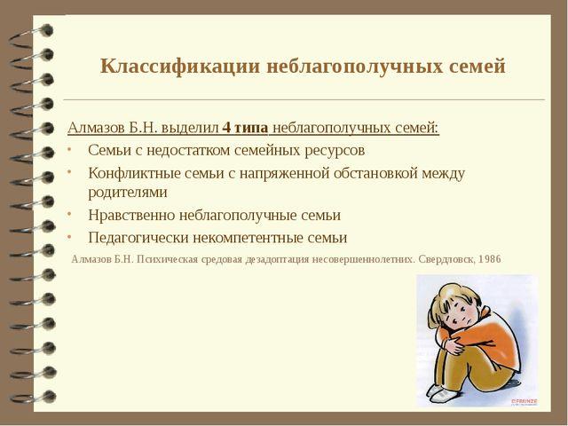 Классификации неблагополучных семей Алмазов Б.Н. выделил 4 типа неблагополучн...