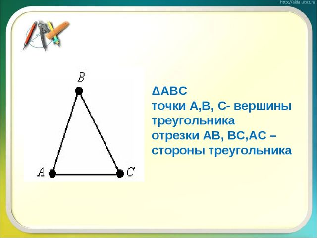 ΔАВС точки А,В, С- вершины треугольника отрезки АВ, ВС,АС – стороны треугольн...
