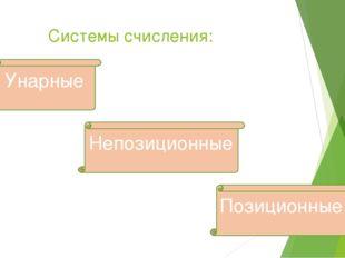 Системы счисления: Унарные Позиционные Непозиционные