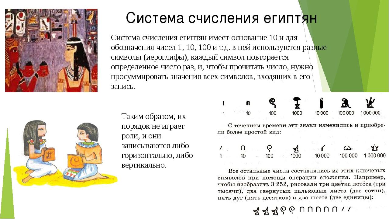 Система счисления египтян Система счисления египтян имеет основание 10 и для...