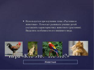 Используется при изучении темы «Растения и животные». Помогает развивать умен