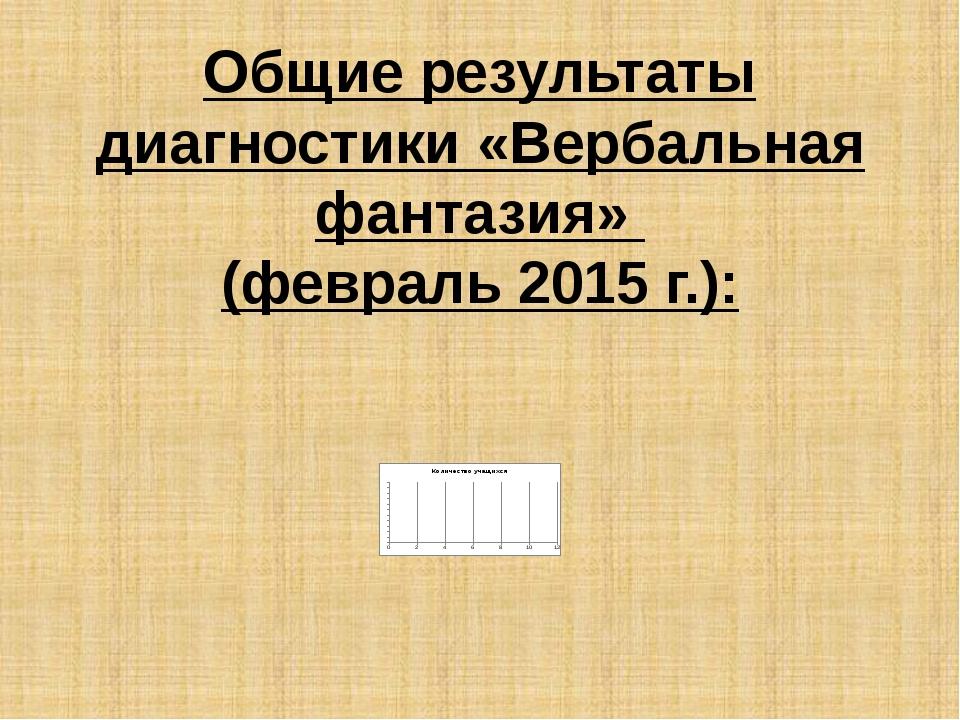 Общие результаты диагностики «Вербальная фантазия» (февраль 2015 г.):