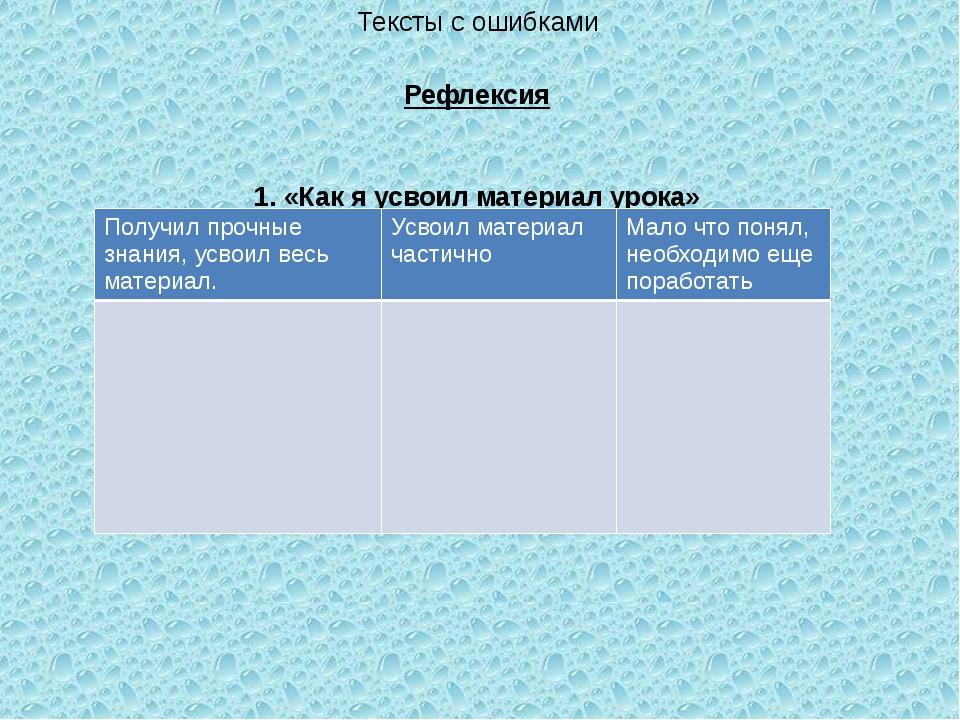 Тексты с ошибками Рефлексия 1. «Как я усвоил материал урока» Получил прочные...