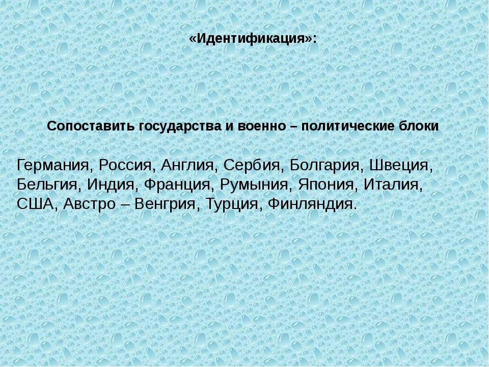«Идентификация»: Сопоставить государства и военно – политические блоки...