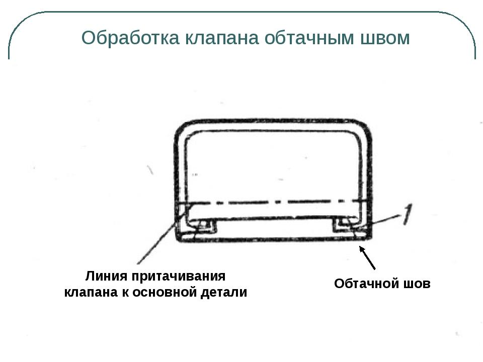 Обработка клапана обтачным швом Линия притачивания клапана к основной детали...