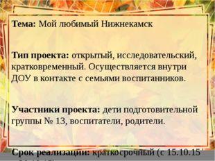 Тема: Мой любимый Нижнекамск Тема: Мой любимый Нижнекамск  Тип проекта: от