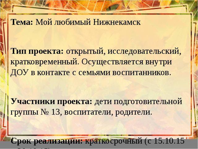 Тема: Мой любимый Нижнекамск Тема: Мой любимый Нижнекамск  Тип проекта: от...