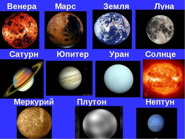 Венера Марс Земля Луна Сатурн Юпитер Уран Солнце Меркурий Плутон Нептун