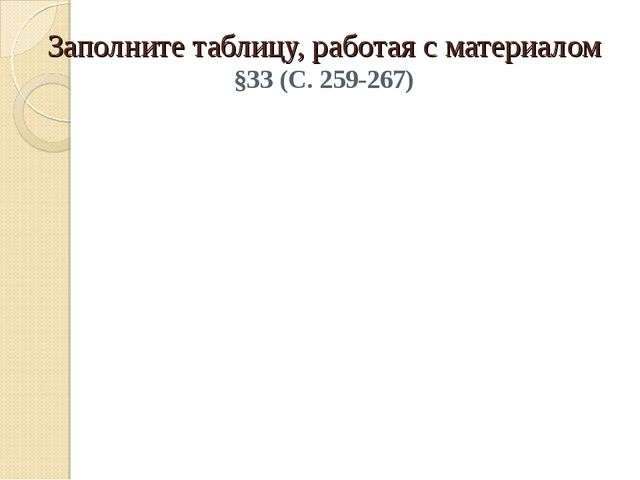 Заполните таблицу, работая с материалом §33 (С. 259-267)